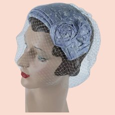 1950s Vintage Hat Blue and White Veiled Clip Hat by Helen Marie