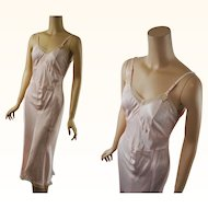 Vintage 1940s 1950s Slip Pink Rayon with Beige Lace NWT Miss Elaine Red Label B34 W30