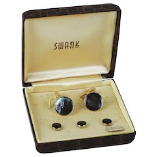Vintage Swank Set in Original Case ~ Cuff Links with 3 Collar Buttons ~ Marbleized  Brown Stones