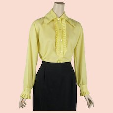 1970s Vintage Blouse ~ Bright Yellow Ruffle Long Sleeves B40