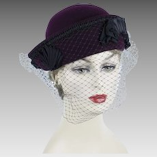 Downton Abby 1920s Style Hat ~ Wine Felt Veiled Cloche ~ Patricia Shypertt Sz 23
