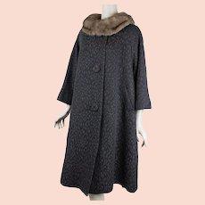 50s - 60s Vintage Swing Coat ~ Black and Brown Jacquard w/ Mink Collar ~ La Vogue B46 W52