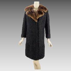Vintage Black Curly Persian Lamb Coat with Mink Collar Lafamme Fourrure B38