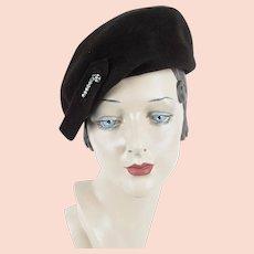 1940s Vintage Hat ~ Brown Felt Tilt Beret w/ Clear Rhinestone Brook by Gene Doris Sz M