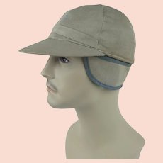 1950s Vintage Cap Khaki Sporting Cap w/ Ear Flaps - Hercules  -  Sears - Sz 7 1/4