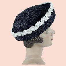 1960s Vintage Hat ~ Navy Blue w/ White Trim Straw Breton by Gladys & Belle Jr ~ Sz 21