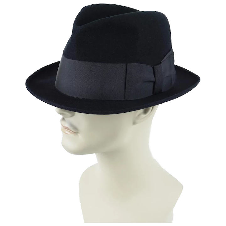 19863eaa66a69 Vintage Fedora Hat Black Cavanagh Edge Trilby Sz 7 1 8 ~ 22 1 2 Inches    Alley Cats Vintage