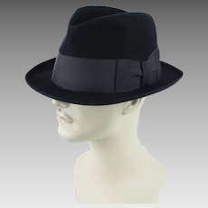 Vintage Fedora Hat Black Cavanagh Edge Trilby Sz 7 1/8 ~ 22 1/2 Inches