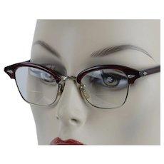 1950s Vintage Eyewear Dark Red 12 KGF Midcentury Browline Eyeglasses ~ American Optical