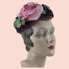1960s Vintage Hat ~ Black Cello Straw Pillbox ~ Pink Silk Rose and Velvet Band by Gage