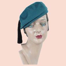 1960s Vintage Hat ~ Dark Teal Tassel Beret ~ Church Hat ~ Sz 22
