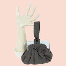 1950s Vintage Purse Taupe Faille Small Evening Wristlet Handbag w/ Clear Plastic Frame