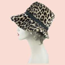 1970s Vintage Hat Faux Animal Print Wide Floppy Brim ~ Dayne ~ Sz 21