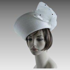 Vintage Hat White Extreme Derby / Church Upturned Brim ~ Mr Hi ~ Sz 22