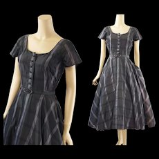 RESERVED Vintage 1950s Dress Charcoal and Silver Taffeta Full Skirt Party B36 W26