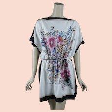 1970s Vintage Tunic Blouse ~ Black White Floral Pattern ~ Gathered Waist ~ Sz L