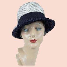 1960s Hat | Vintage Navy Blue and White Straw Fedora | Sz 21 1/2
