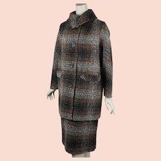 1950s Walking Suit | Brown Tweed Wool | Pencil Skirt | Hip Length Coat | Peerless Wool