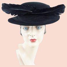 1930s Vintage Hat ~ Black Feathered Boater ~ Marlea Hats