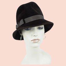 1970s Hat, Brown Vintage Short Brim Fedora, 70s Brimmed Cloche, Sz 21 1/2