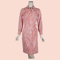 11e09ae847 Vtg 1970 s Retro Hand Screen printed knit jersey sheath dress poet ...