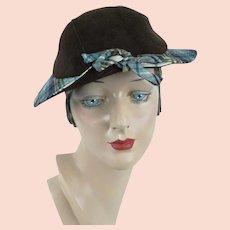 1940s Hat, Teal Plaid and Brown Brim Cap, Casual Hat, Sz 21