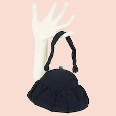 1950s Vintage Evening Handbag, Black Rayon Pouch Purse