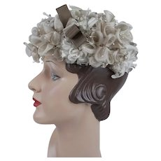1960s Half Hat, Taupe and Beige Silk Florals Clip Hat, Vintage Hat