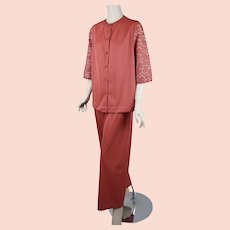 1970s Lounging Pajamas, Vanity Fair Persimmon PJs, Lace Lounging Pajamas, 70s, Sz 38, B42