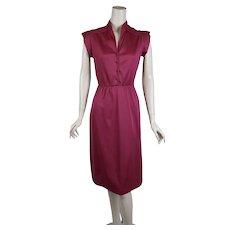 1970s Magenta Dress, Pintucked Bodice, 1970s Nylon Dress, Queens Row, Sz S B34