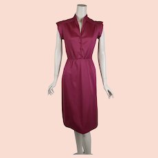 1970s Magenta Dress, Pintucked Bodice, 1970s Nylon Dress, Queens Row, Sz S B34