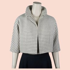 1960s Houndstooth Bolero, Taupe Checked Bolero Jacket, Wool Jacket, B38