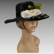 Vintage Hat Black Straw Circle Wide Brim with White Silk Rose by Patti Paris Sz 22