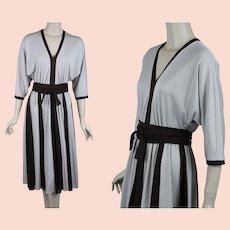 1980s Full Skirt Swing Dress, Taupe and Brown Lilli Diamond, Slinky Swing Dress, B40 W27