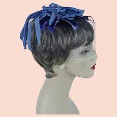 Birdcage Whimsey, Blue and Lilac Petal Fascinator, NOS Whimsey, Vintage 60s Hat