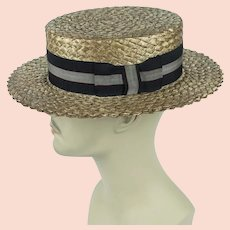 1920s Boater, Mans Straw Hat, Straw Boater by Lion Hats Sz 7 1/8