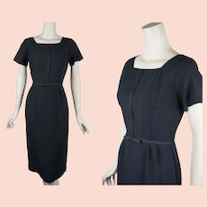 Little Black Dress, 1950s Black Linen Form Fitting Dress, B36 W27