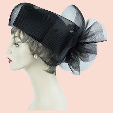 Kentucky Derby Hat, Black Tilt Pillbox Church Lady, Flare Netting, Sz 23