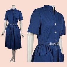1970s Shirtwaist, Pocket Dress, Navy Blue Cotton Dress, R&K Shirtwaist Dress, Sz S-M, B36