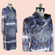 1970s Blue and White Paisley Dress, Shift Style by Andrea Gayle, Lord & Taylor,  Sz Large, B40 W36