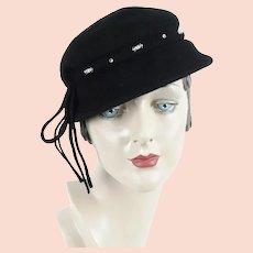 1950s Black Cap, Rhinestone Brimmed Hat, 50s Rhinestone Hat, Sz 21 1/2