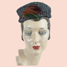 1950s Vintage Hat, Grey Curly Lamb Mini Pillbox