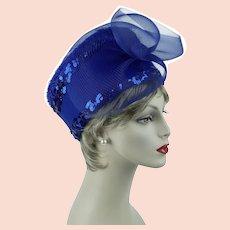 f540a8ad4cb376 Royal Blue Church Lady Hat, Felt and Sequin Derby Asymmetrical Pillbox,  Glory II Sz