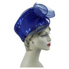 Royal Blue Church Lady Hat, Felt and Sequin Derby Asymmetrical Pillbox, Glory II Sz 23