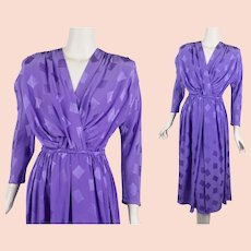 Lavender Silk 80s Dress, Feminine Gathered Bust, Full Skirt Silk Dress, Nora Noh Dress, Sz 12