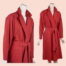 1970s Halston Wrap Coat, Red Linen Wrap Coat, Linen Trench Coat, Sz 10