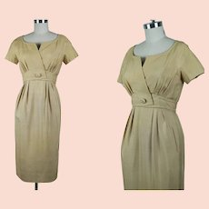 1950s Gold Silk Dress, Form Fitting Empire Waist Dress, Gold Silk Branell Dress, B36 W27