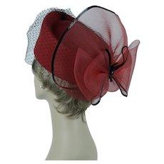 Bright Red Derby Hat, Church Lady Hat, Red Asymmetrical Pillbox w/ Black Veiling, Sz 22