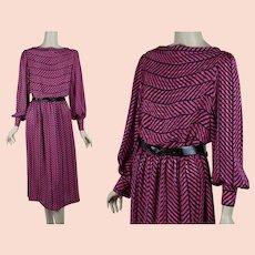 1980s Dress, Hot Pink and Black Blouson Style, Balloon Sleeves, Toni Todd, Sz M - L, B40