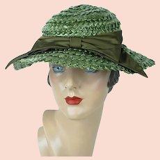 d1b80642 Forest Green Wide Brim Straw Hat, Wavy Brim Wide Weave Summer Hat, Betmar  Wide
